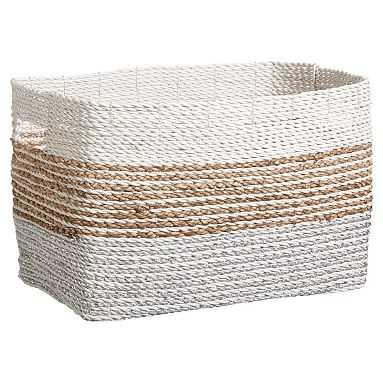 Shimmer Stripe Bin, Silver/Natural, Medium - Pottery Barn Teen