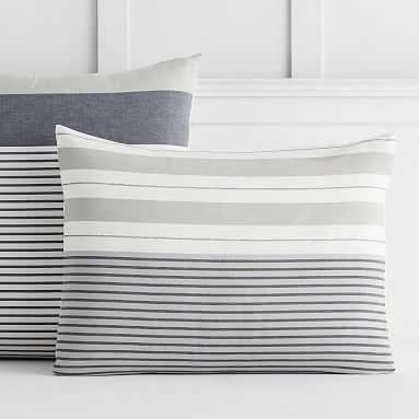 Harbor Stripe Sham, Standard, Gray - Pottery Barn Teen