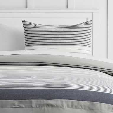 Harbor Stripe Duvet Cover, Full/Queen, Gray - Pottery Barn Teen