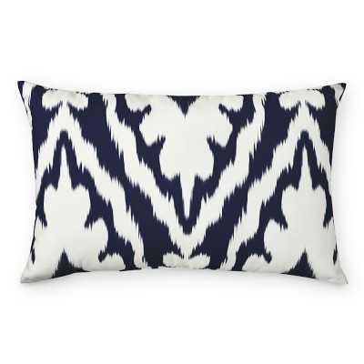 """Outdoor Printed Saint Tropez Ikat Lumbar Pillow, 14"""" X 22"""", Navy - Williams Sonoma"""