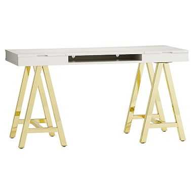 Customize-It Project Desk Top Metal Legs, Simpley White with Gold Base - Pottery Barn Teen