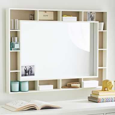 Pinboard Display Shelf Framed Mirror, Simply White - Pottery Barn Teen