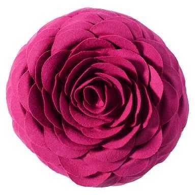 Flora Felt Pillow, Fuchsia - Pottery Barn Teen