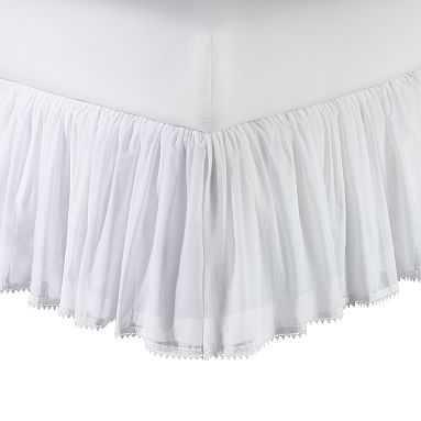 "Bohemian Bed-Skirt, 14"", Queen, White - Pottery Barn Teen"