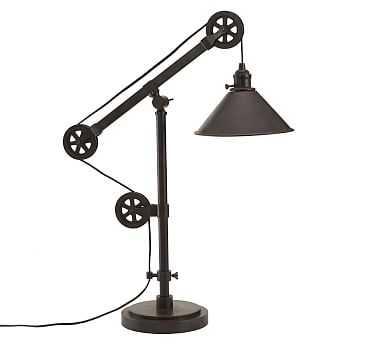 Warren Pulley Metal Task Table Lamp, Rustic Iron Finish - Pottery Barn
