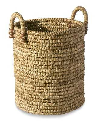 Woven Seagrass Basket with Leather, Small - Williams Sonoma