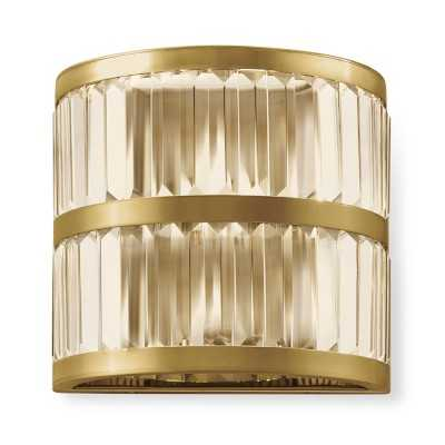 Lamont Crystal Sconce, Antique Brass - Williams Sonoma