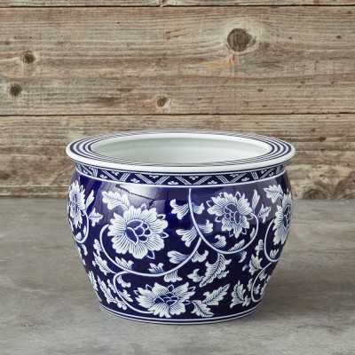 Blue & White Ceramic Planter, Medium - Williams Sonoma