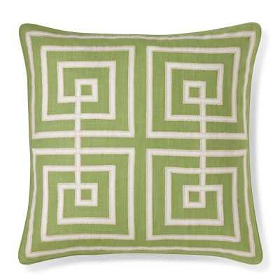 "Interlock Greek Key Pillow Cover, 20"" X 20"", Green - Williams Sonoma"