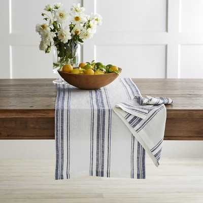 "French Stripe Table Runner, Navy Blue, 108"" X 16"" - Williams Sonoma"