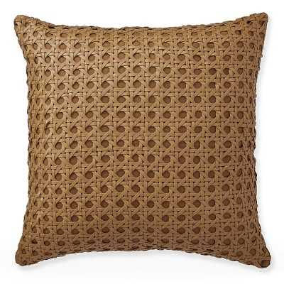 "Cane Woven Leather Pillow Cover, 20"" X 20"", Tan - Williams Sonoma"