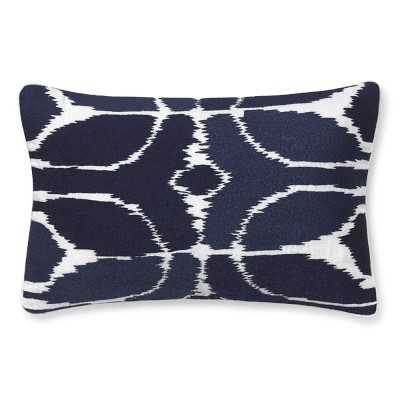"""Embroidered Ikat Pillow Cover, 14"""" X 22"""", Navy - Williams Sonoma"""