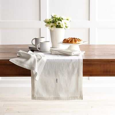 Linen Double Hemstitch Table Runner, Cream - Williams Sonoma