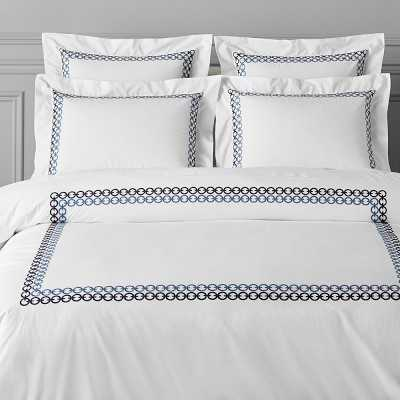 Chain Link Embroidered Bedding, Duvet, King/Cal King, Navy - Williams Sonoma