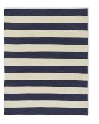 Patio Stripe Indoor/Outdoor Rug, 8x10', Dress Blue/Egret - Williams Sonoma