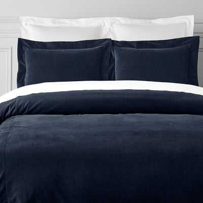 Classic Velvet Bedding, Duvet, Full/Queen, Navy - Williams Sonoma