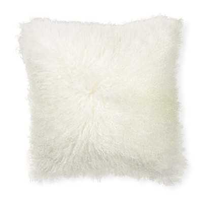 """Mongolian Lambswool Pillow Cover, 20"""" X 20"""", Ivory - Williams Sonoma"""