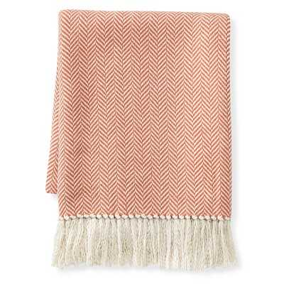 "Mini Chevron Cotton Throw, 50"" X 60"", Coral - Williams Sonoma"