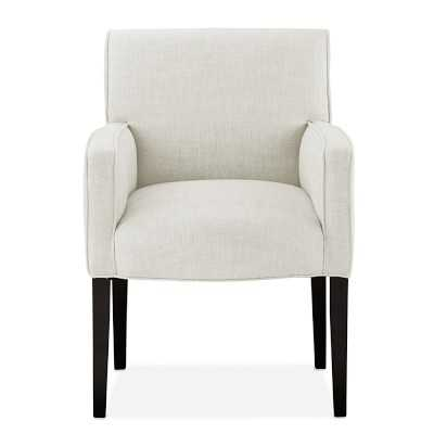 Fitzgerald Dining Chair, Arm, Ebony, Chunky Linen, White - Williams Sonoma