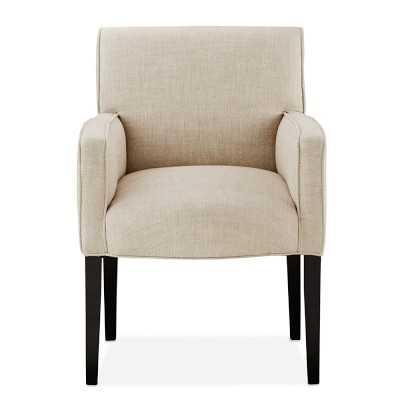 Fitzgerald Dining Chair, Arm , Ebony, Chunky Linen, Natural - Williams Sonoma