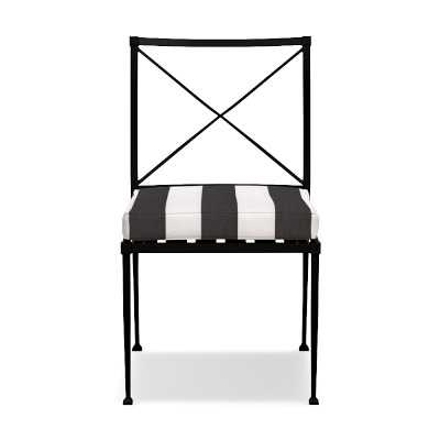 Bridgehampton Outdoor Dining Side Chair Cushions, Piped, Sunbrella Cabana, Black/White - Williams Sonoma