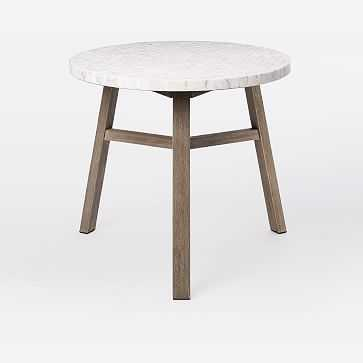 Mosaic Bistro Table, White Marble Penny Round/Weathered Gray - West Elm