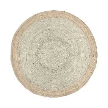 Bordered Round Jute Rug, 6' Round, Ivory - West Elm