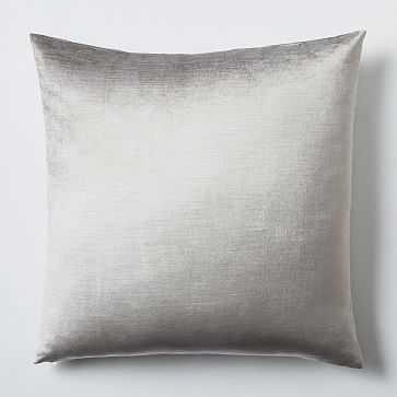 """Luster Velvet Pillow Cover, 20""""x20"""", Platinum - West Elm"""