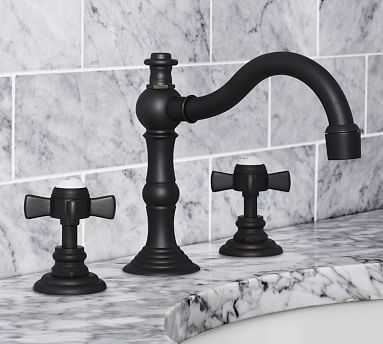Langford Cross-Handle Widespread Bathroom Faucet, Antique Bronze Finish - Pottery Barn