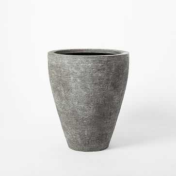 "Textured Stone Planter, Gray, Medium Wide, 20"" Diameter - West Elm"