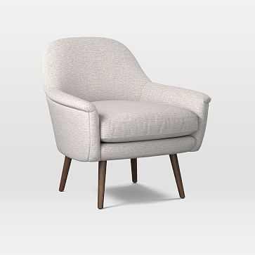 Phoebe Mid-Century Chair, Twill, Wheat, Pecan - West Elm