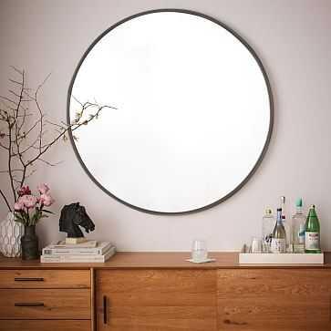 Metal Framed Oversized Round Mirror, Antiqued Bronze - West Elm
