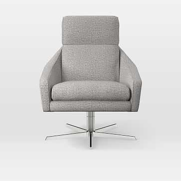 Austin Swivel Chair, Deco Weave, Feather Gray - West Elm