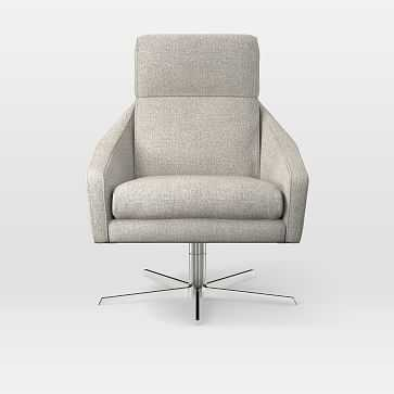Austin Swivel Chair, Twill, Stone - West Elm