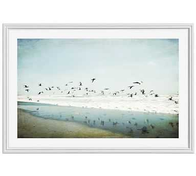 "Birds Reflected Framed Print by Lupen Grainne, 28x42"", Ridged Distressed Frame, White, Mat - Pottery Barn"