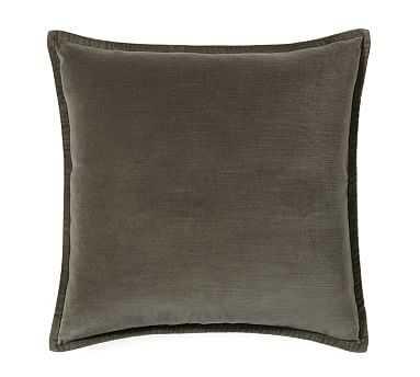 "Washed Velvet Pillow Cover, 20"", Dark Sage - Pottery Barn"
