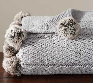 "Faux Fur Pom Pom Knitted Throw, 50x60"", Smoke - Pottery Barn"