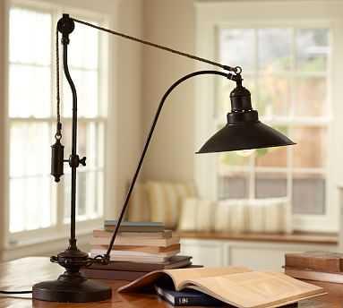 Glendale Pulley Task Table Lamp, Bronze Finish - Pottery Barn