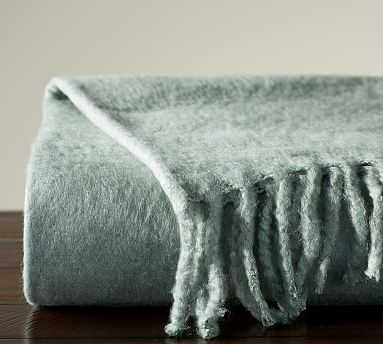 "Solid Faux Mohair Oversized Throw, 55x80"", Blue Smoke - Pottery Barn"