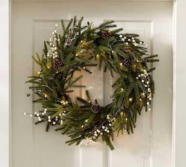 Lit Frozen Pine Wreath, Small - Pottery Barn