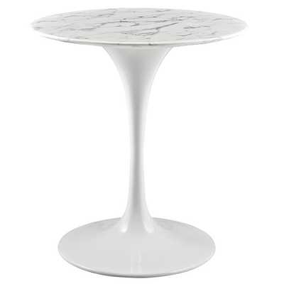 "LIPPA 28"" ROUND ARTIFICIAL MARBLE DINING TABLE IN WHITE - Modway Furniture"