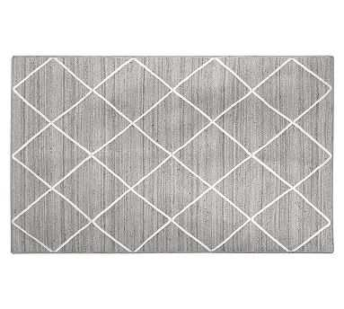 Jute Lattice Rug, 5x8', Gray - Pottery Barn