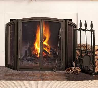 PB Classic Fireplace Triple Screen - Pottery Barn