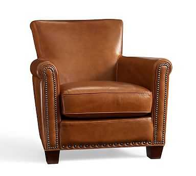 Irving Leather Armchair, Bronze Nailheads, Polyester Wrapped Cushions, Stetson Chestnut - Pottery Barn