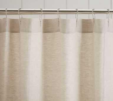 "Ruffle Shower Linen Curtain, 72 x 72"", Flax - Pottery Barn"