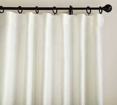 "Dupioni Silk Pole Pocket Drape, 50 x 124"", Ivory - Pottery Barn"