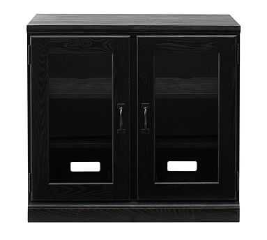 Printer's Double Glass Door Cabinet w/Double Top, Artisanal Black stain - Pottery Barn