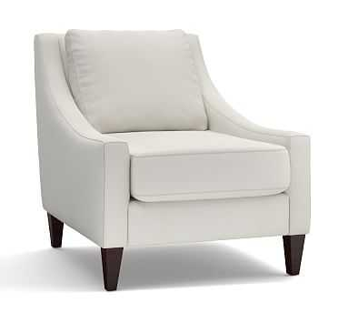 Aiden Upholstered Armchair, Polyester Wrapped Cushions, Washed Linen/Cotton Ivory - Pottery Barn