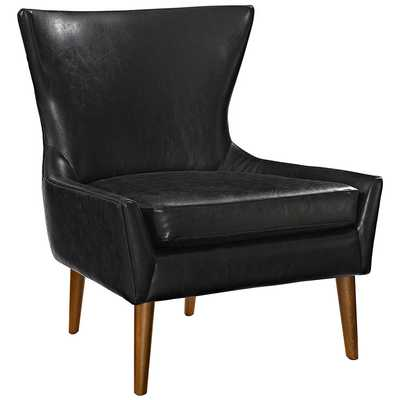 KEEN UPHOLSTERED VINYL ARMCHAIR IN BLACK - Modway Furniture