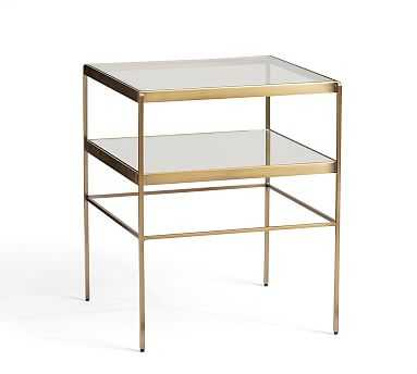 Leona Metal Cube Table, Brass - Pottery Barn